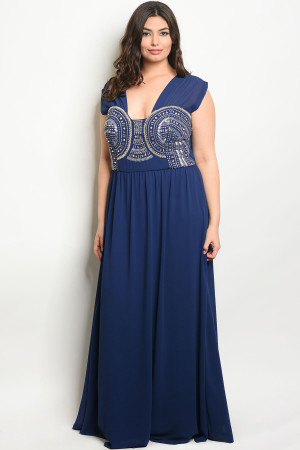 S15-7-4-D16634X NAVY WITH STONES PLUS SIZE DRESS 3-2-1