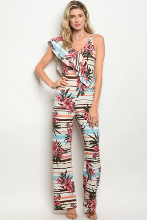 C5-A-2-J003 OFF WHITE ROSE FLORAL JUMPSUIT 2-2-2