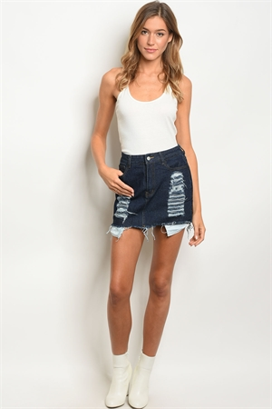 S12-10-1-S1601 DARK BLUE DENIM SKIRT 2-2-2