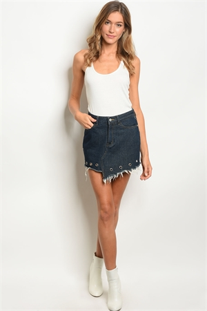 S8-2-2-S1603 DARK BLUE DENIM SKIRT 2-2-2