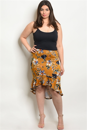 C97-A-6-S1444X MUSTARD FLORAL PLUS SIZE SKIRT 2-2-2