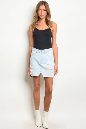135-2-2-S0001 LIGHT BLUE DENIM SKIRT 2-2-2