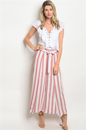 S16-7-6-P1034 WHITE RED STRIPES PANTS 3-2-2