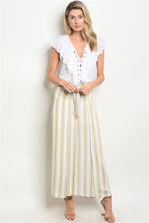 123-1-1-P1034 WHITE MUSTARD STRIPES PANTS 2-2-2