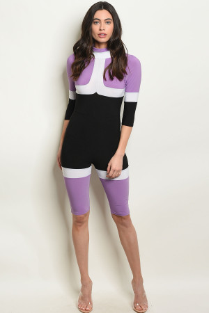 C77-A-3-J10231 PURPLE BLACK JUMPSUIT 3-2-1