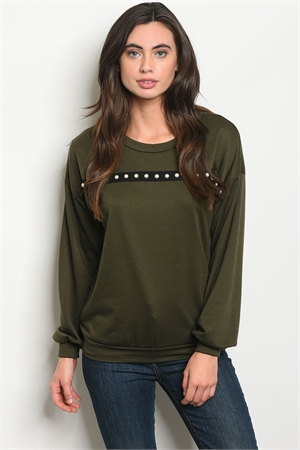 C61-B-2-S30522 OLIVE WITH PEARL SWEATER 2-2-2