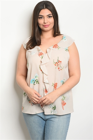 S14-12-3-T9539X TAUPE STRIPES FLORAL PLUS SIZE TOP 2-2-2