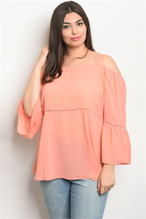 110-1-3-T8865X CORAL PLUS SIZE TOP 2-2-2
