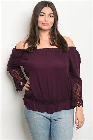 110-3-1-T9435X PLUM PLUS SIZE TOP 2-2-2