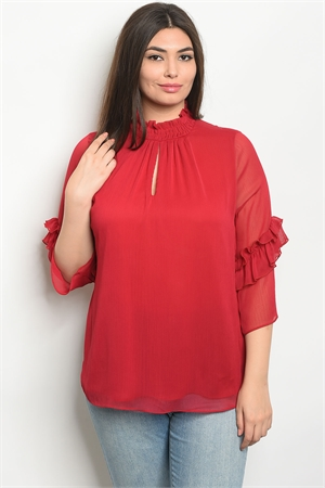 109-3-1-T9432X BURGUNDY PLUS SIZE TOP 2-2-2