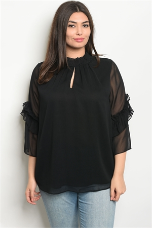 135-3-2-T9432X BLACK PLUS SIZE TOP 2-2-2