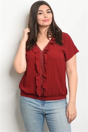113-2-1-T9126X BURGUNDY PLUS SIZE TOP 2-2-2