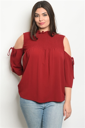 110-2-4-T9312X BURGUNDY PLUS SIZE TOP 2-2-2