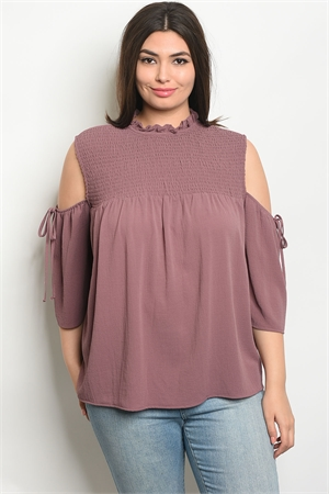 110-2-4-T9312X MAUVE PLUS SIZE TOP 2-2-2