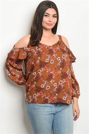 134-2-1-T9282X EARTH WITH FLOWER PRINT PLUS SIZE TOP 2-2-2
