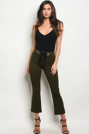 S4-2-4-P1798 OLIVE STRIPES PANTS 2-2-2
