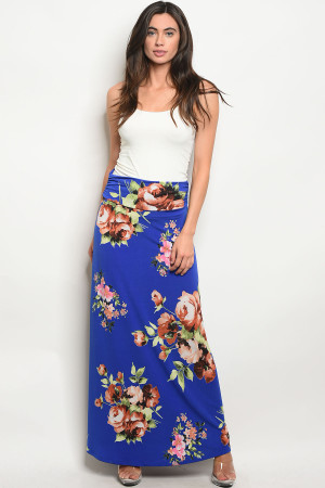 Z-B-S1016 ROYAL WITH FLOWER PRINT SKIRT 2-2-2