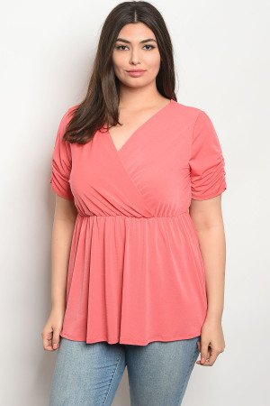C101-B-4-T80094X CORAL PLUS SIZE TOP 2-2-2
