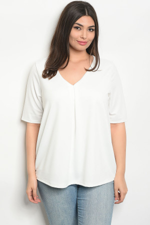 C101-B-4-T8119X IVORY PLUS SIZE TOP 2-2-2