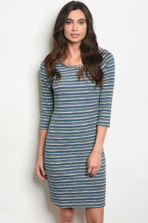 122-1-3-D9786 BLUE GRAY STRIPES DRESS 2-2-2