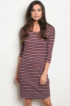 S11-4-3-D9786 RED NAVY STRIPES DRESS 2-2-2