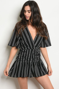 S3-10-5-NA-R4622 BLACK WHITE STRIPES ROMPER 3-2-1