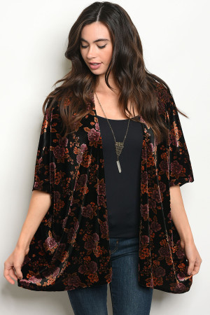 C48-A-2-C4410 BLACK WITH FLOWER PRINT CARDIGAN 3-2-1
