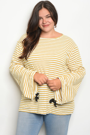 S13-12-4-T20638X IVORY MUSTARD STRIPES PLUS SIZE SWEATER 2-2-2