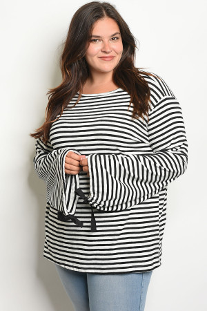 S13-12-3-T20638X OFF WHITE BLACK STRIPES PLUS SIZE SWEATER 2-2-2