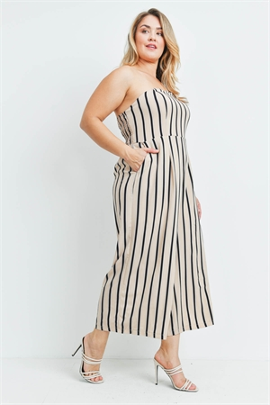 S11-19-1-J73590X BEIGE BLACK STRIPES JUMPSUIT 1-1-2-2