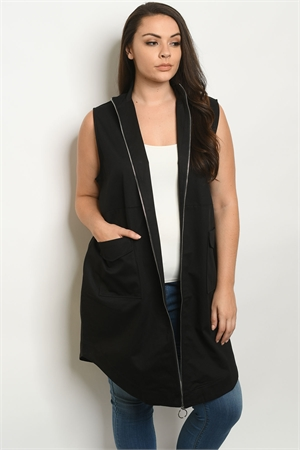 S18-9-3-J9481X BLACK PLUS SIZE VEST 2-2-2
