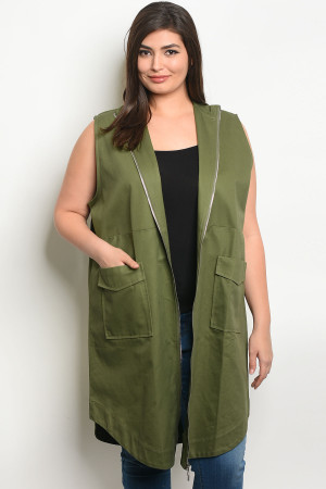 S19-11-1-J9481X GREEN PLUS SIZE VEST 2-2-2