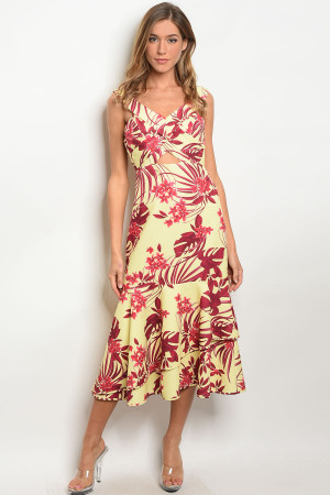S11-10-4-D1027 YELLOW FLORAL DRESS 3-2-1