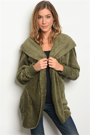 114-WALL-S0530 OLIVE SHERPA JACKET / 6PCS