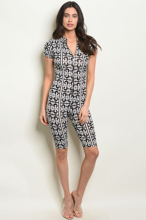 C91-A-6-R10282-3 BLACK WHITE ROMPER 3-2-1