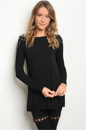 C58-B-5-T4575 BLACK SEQUINS TOP 2-2-2