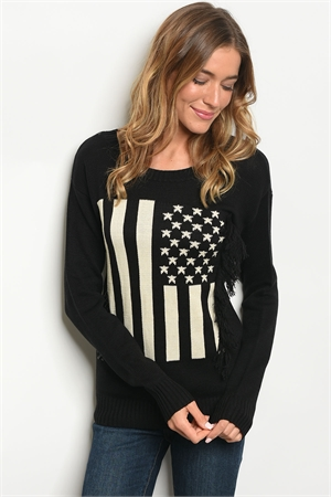 112-5-1-S70037 BLACK CREAM SWEATER 3-3