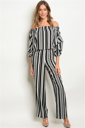 C50-A-1-SET1161 BLACK WHTIE STRIPES CROP TOP & PANTS SET 2-2-2