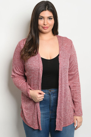 S19-5-3-C8434X BURGUNDY PLUS SIZE CARDIGAN 2-2-2