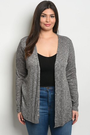 121-2-4-C8434X BLACK WHITE PLUS SIZE CARDIGAN 2-2-2