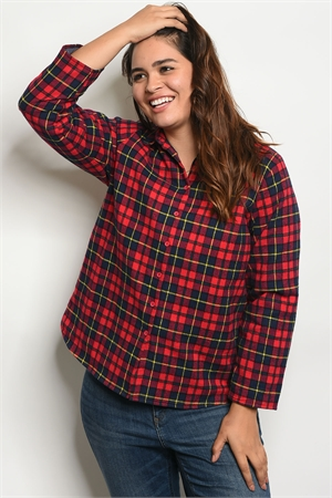 S18-4-2-J8340X RED NAVY CHECKERED PLUS SIZE JACKET 2-2-2