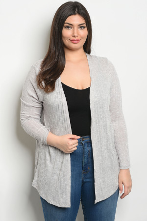 S10-15-3-C8434BX GRAY PLUS SIZE CARDIGAN 2-2-2