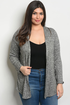 S18-11-5-C8434BX BLACK WHITE PLUS SIZE CARDIGAN 2-2-2