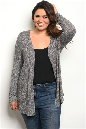 S16-3-4-C8434BX BLACK GRAY PLUS SIZE CARDIGAN 2-2-2