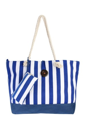 S7-6-1-AFC0039 BLUE-STRIPED TRAVEL TOTE BAG/6PCS