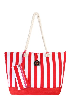 S7-6-1-AFC0039 RED-STRIPED TRAVEL TOTE BAG/6PCS