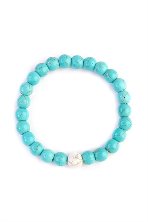 S7-6-4-AHDB2183 TURQUOISE TWO TONE MARBLE BEADS BRACELET /6PCS