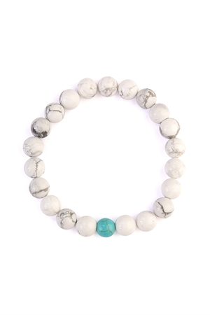 S7-6-4-AHDB2185 WHITE TURQUOISE TWO TONE MARBLE BEADS BRACELET/6PCS