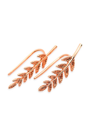 S5-6-3-AHDE1266RG ROSE GOLD LEAF CRAWLER EARRING/6PAIRS