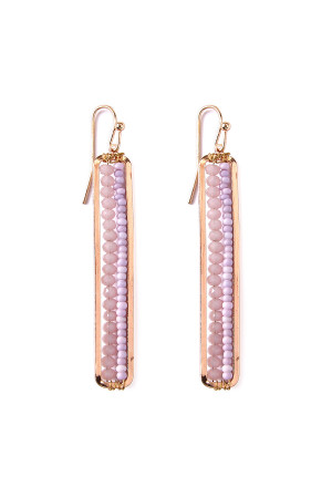 S4-6-3-AHDE1918LV LAVENDER BAR CUTOUT BEADED DROP EARRINGS/6PAIRS